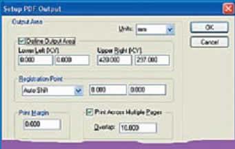 Установка размеров листов и их перекрытия при выводе в PDF-файл