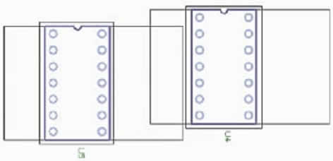 Пример взаимодействия областей Component Body и Placement Clearance при расталкивании