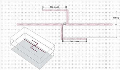 Геометрия широкополосного диполя напоминает двухэлементную логопериодическую антенну