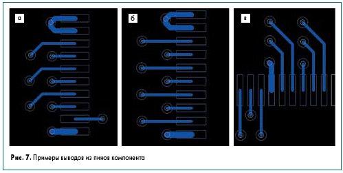 Рис. 7. Примеры выводов из пинов компонента