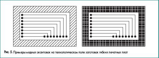 Примеры медных окантовок на технологическом поле заготовок гибких печатных плат