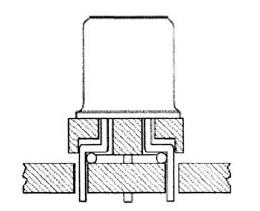Типовой транзистор с радиальными выводами на установочной шайбе