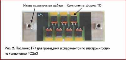 Подложка FR4 для проведения экспериментов по электромиграции на компонентах TO263