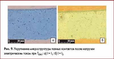 Укрупнение микроструктуры паяных контактов после нагрузки электрическим током