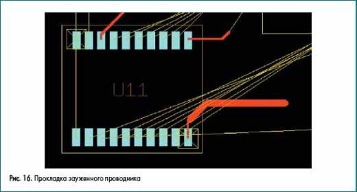 Прокладка зауженного проводника