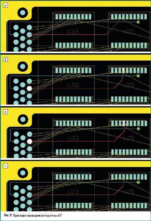 Прокладка проводников под углом 45°