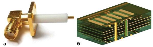 Многослойная печатная плата с металлизацией сквозных отвертий; б) СВЧ-разъем (частота — до 20 ГГц)