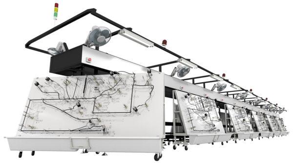 Автоматическая линия сборки жгутов с плазами на тележках от компании Schleuniger