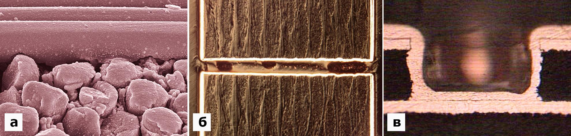 Химическое меднение: структура слоя химической меди; высокое отношение толщины ПП к диаметру отверстия— химическое меднение; отверстие после лазерного сверления— химическое меднение