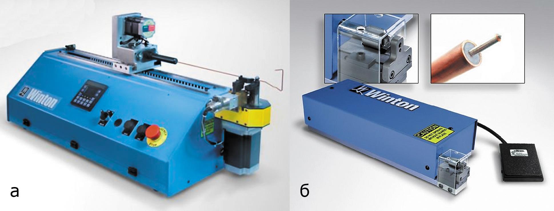 Рис. 9. Машины Winton: а) гибки жестких кабелей Winton Machine CX-6; б) изготовления фаски Winton Machine Pointer